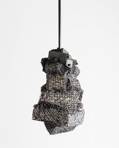Thaddeus Wolfe, 'Unique Gridded Line Relief Pendant in hand-blown, cut and polished glass with custom cast bronze hardware. Designed and made by Thaddeus Wolfe, USA, 2015.', 2015