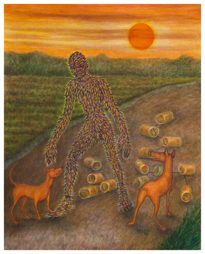 Bernard Gilardi, 'Untitled (prickly figure with dogs)', 1995