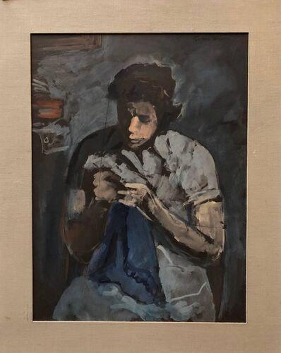 Gershon Benjamin, 'American Modernist Social Realist Seamstress Portrait Painting', Mid-20th Century
