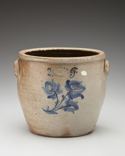 Unknown Artist, 'Two-gallon crock with floral design; Conrad Haidle & Co., Union Pottery, Newark', 1871