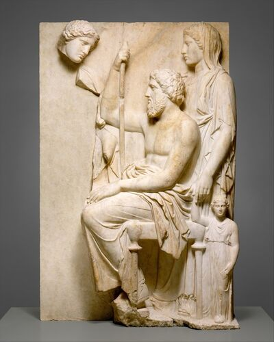 Unknown Greek, 'Marble grave stele with a family group', ca. 360 B.C.