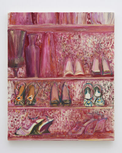Midori Sato, 'Shoe shelves with red floral wall paper II', 2019