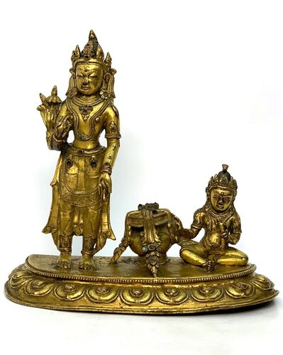 Bronze Sculpture, 'A Gilt bronze figures of Padmapani and Jambhala, Tibet, 15th century, 23,5 cm.'