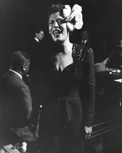 Gjon Mili, 'Jazz singer Billie Holiday performing in Esquire Jam Session at Metropolitan Opera House', 1944