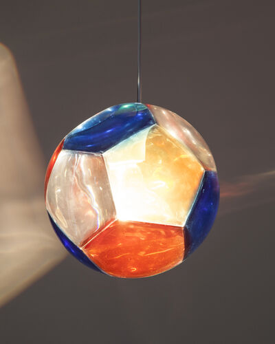 """Christian Wassmann, '""""Red, Yellow and Blue Dodecahedron"""" medium size chandelier and optical instrument', 2014"""