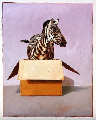 "Santiago Garcia, '""Andante #58"" oil painting of a zebra in a box with light purple and grey background', 2010-2017"