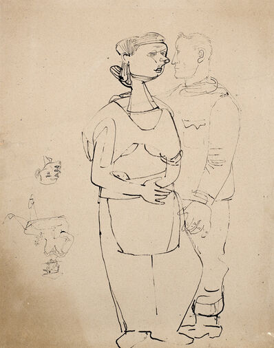 Jankel Adler, 'Self-portrait with Figure of a Woman (and drawing of Head attributed to Ludwig Meidner)', 1943-1945