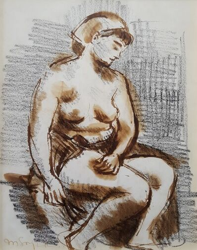 Moses Soyer, 'Seated Female Nude', ca. 1940