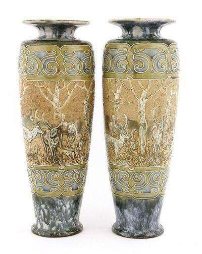 Hannah Barlow, 'A pair of Royal Doulton stoneware vases'