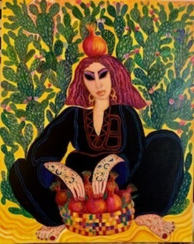 Laila Shawa, 'Pomegranate seller with cactus', 2019