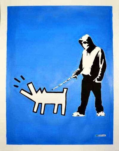 Banksy, '(After Banksy) Hoodie & Haring Dog on Blue', 2018