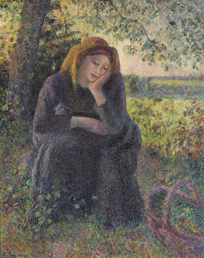 Camille Pissarro, 'Paysanne Rêveuse Assise, Soleil Couchant', 1891-1892