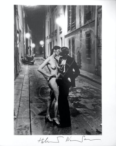 Helmut Newton, 'Rue Aubriot, with nude, kissing, Yves St Laurent', 1975