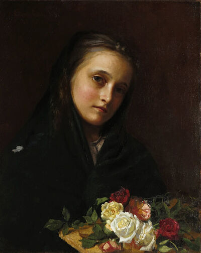 William Gilbert Gaul, 'Girl with Flowers', ca. 1880