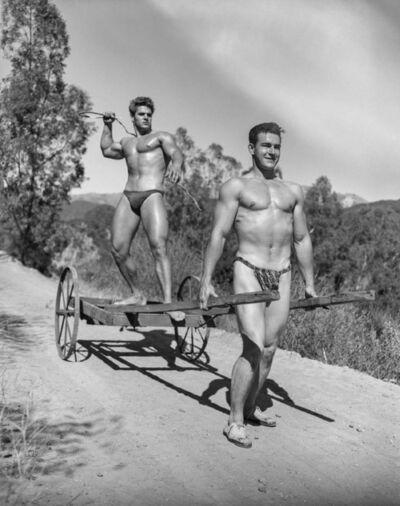 Bob Mizer, 'Richard DuBois and Hank Prater (cart and whip), Southern California', 1953