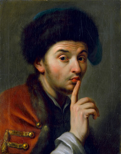 Pietro Rotari, 'Men With Fur Hat, Lifting His Right Index Finger', undated