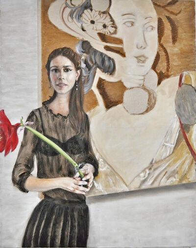 Adam Leech, 'Tamara in front of ablack flower', 2019