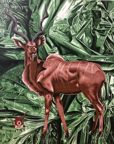 "Stephen Hall, 'Acrylic Painting of Deer on Canvas: ""Bad Habitat"" ', 2019"