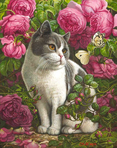 Yana Movchan, 'Kitty with Butterflies', 2019