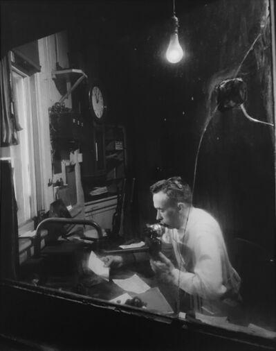 O. Winston Link, 'Troy Humphries Check Trains Through Cracked Glass Window, Waynesboro, VA', 1955