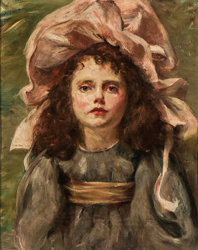 Anglo/American School, 19th/20th Century, 'Girl in a Pink Bonnet'