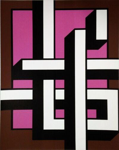 Bak Imre, 'Brown – pink calligraphy ', 1981