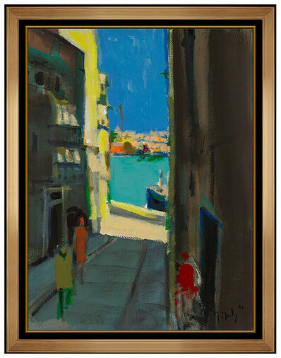 Marcel Mouly, 'Marcel Mouly Original Acrylic Painting on Canvas Large French Cityscape Artwork', 1984