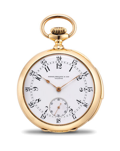 Patek Philippe, 'A fine and rare pink gold quarter repeating pocket watch with 24-hour dial', 1899