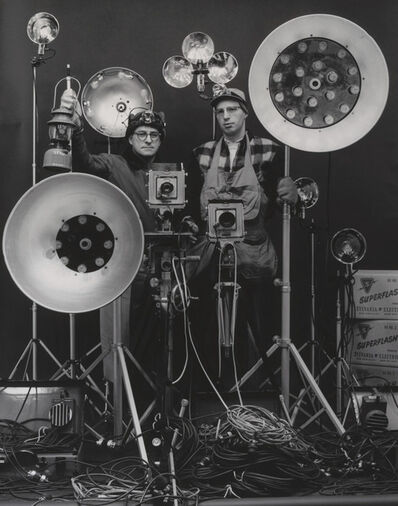 O. Winston Link, 'O. Winston Link and George Thom with Part of Equipment Used in making Night Scenes with Synchronizer Flash', 1956