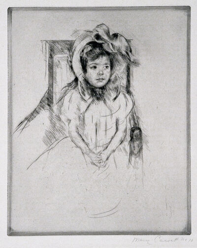 Mary Cassatt, 'Margot Wearing a Large Bonnet, Seated in an Armchair.', ca. 1904
