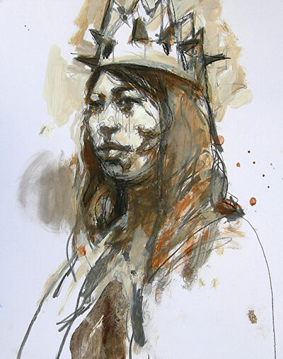 Kim Frohsin, 'Memorial to Mr. Morris / woman's head, drawing painting ', 2010