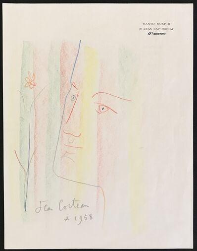 Jean Cocteau, 'Portrait with Flower', 1958