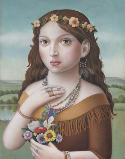 Amy Hill, 'Young Woman with Flowers', 2018