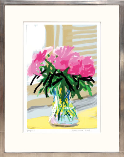 David Hockney, 'My Window with iPhone drawing No. 535, 28th June 2009 [Vase of Pinks] ink-jet print.', 2020