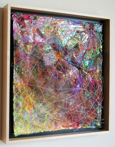 "Holly Wong, '""Emerge I"" - Rainbow of Textiles Stitched and Mounted in Square Frame', 2019"