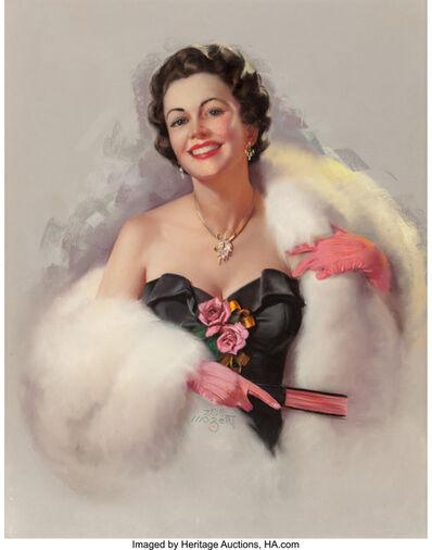 Zoë Mozert, 'White Fur and Pink Roses'