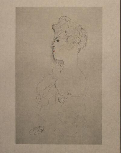 Gustav Klimt, 'Portrait Sketch (Blue, Red and White Tinted) - Niyoda Paper', 1919