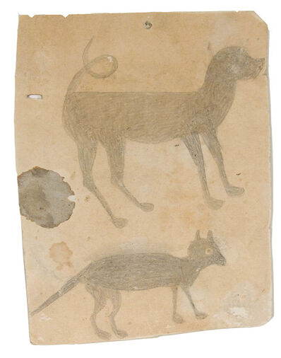 Bill Traylor, 'Hound Dog and Cat (Early)', ca. 1939