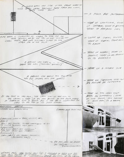 "Vito Acconci, 'Drawing for ""The cuckoo Show"" or: A language of their own for the poor people of Switzerland', 1977"