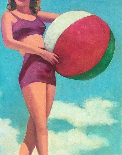 "T.S. Harris, '""Summer Sunshine"" Woman holing a beach ball in vintage Purple Bikini with Turquoise Sky', 2017"