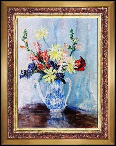 Johann Berthelsen, 'Johann Berthelsen Original Oil PAINTING On Board Signed New York Flowers Artwork', 20th Century