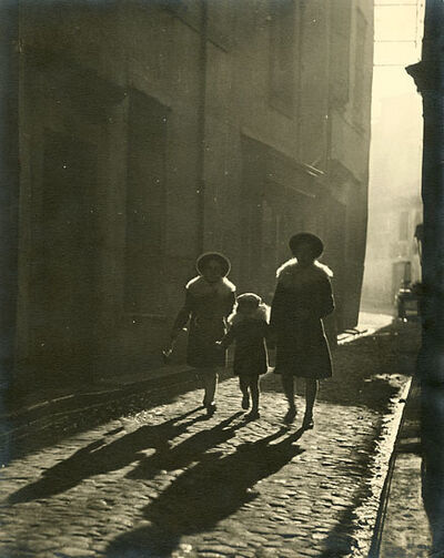 Fernand Triol, 'Mother and Children Walking Down Cobblestone Street', 1930s