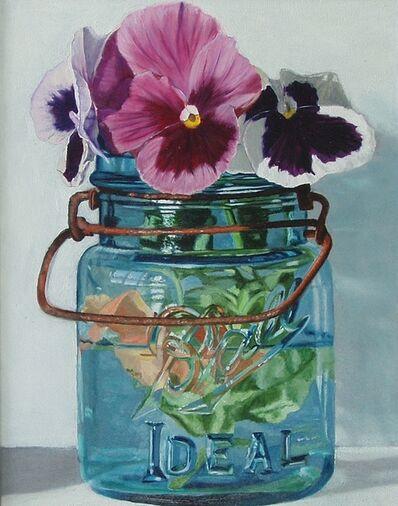 Peggie Blizard, 'Small Blue Jar with Three Pansies', 2021