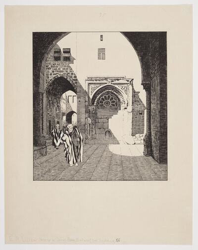 Ephraim Moses Lilien, 'Alleyway to the Western Wall Plaza, Jerusalem', 1910-1911