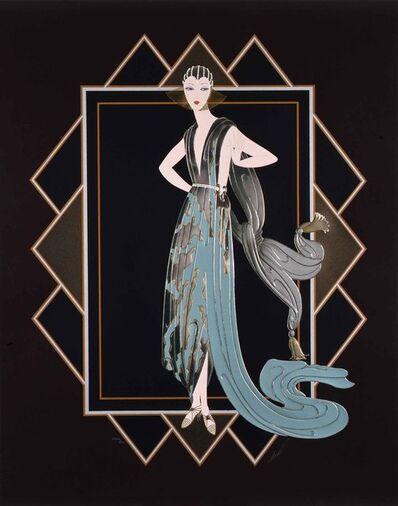 Erté (Romain de Tirtoff), 'California (Turquoise Dress)', 1989