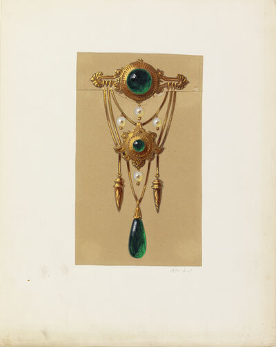 Alexis Falize, 'Design for a Gold and Cabochon Gem Brooch', 1855