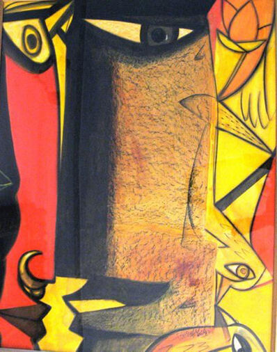 "Paresh Maity, 'Mixed Media Painting, Red, Yellow, Brown, Black colors by Indian Artist Paresh Maity ""In Stock""', 2000-2019"