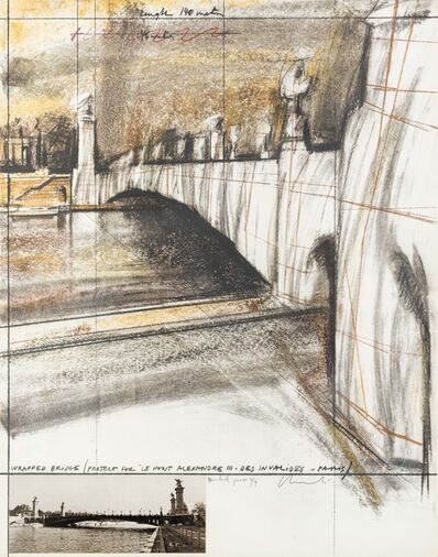 Christo, 'Wrapped Bridge, Project for Pont Alexandre III, Paris', 1977