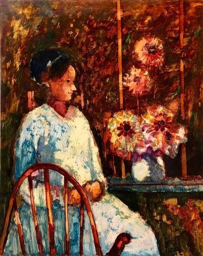 Donald Roy Purdy, 'Modernist SUNDAY MORNING HARVEST Woman with Flowers Oil Painting', 20th Century