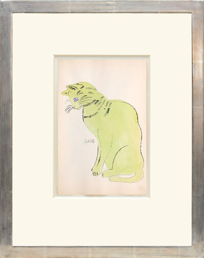 Andy Warhol, 'Sam. [Sitting lime green cat with purple eyes.]', 1954